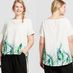 NEW ava & viv plus size palm print blouse size 3X